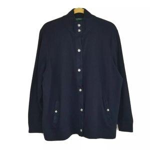 RALPH LAUREN Navy Blue Knit Cardigan